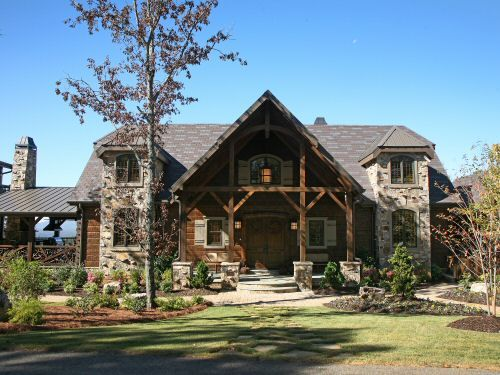 Pictures of rustic front porch bump outs and hip for Rustic timber frame homes