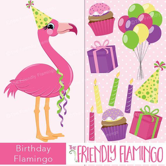 Flamingo party. Birthday pink clip art