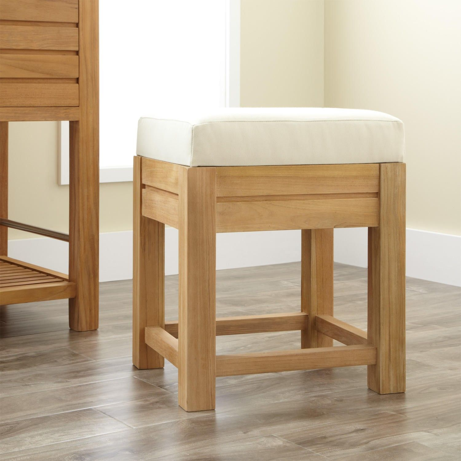 Banquetas De Baño Banta Teak Bathroom Stool With Fabric Top Bathrooms