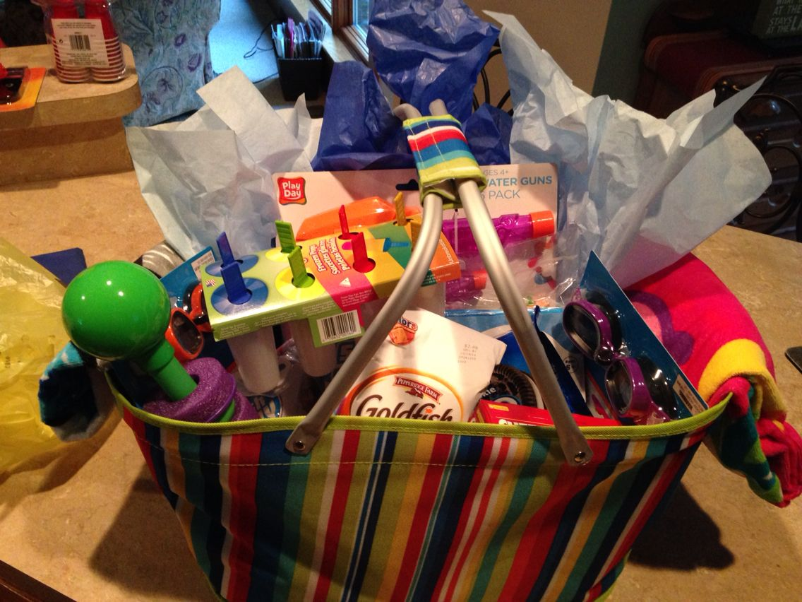 Summer Pool Party Gift Basket For Kids Silent Auction Gift
