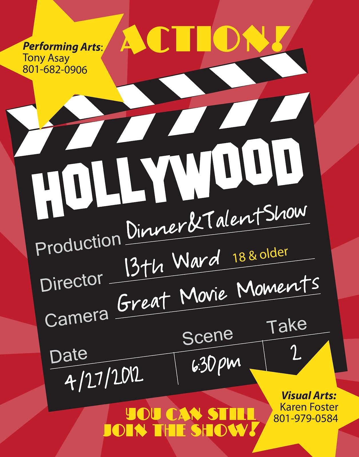 Hillmark Design  Hollywood Dinner  Talent Show Flyer  Hillmark