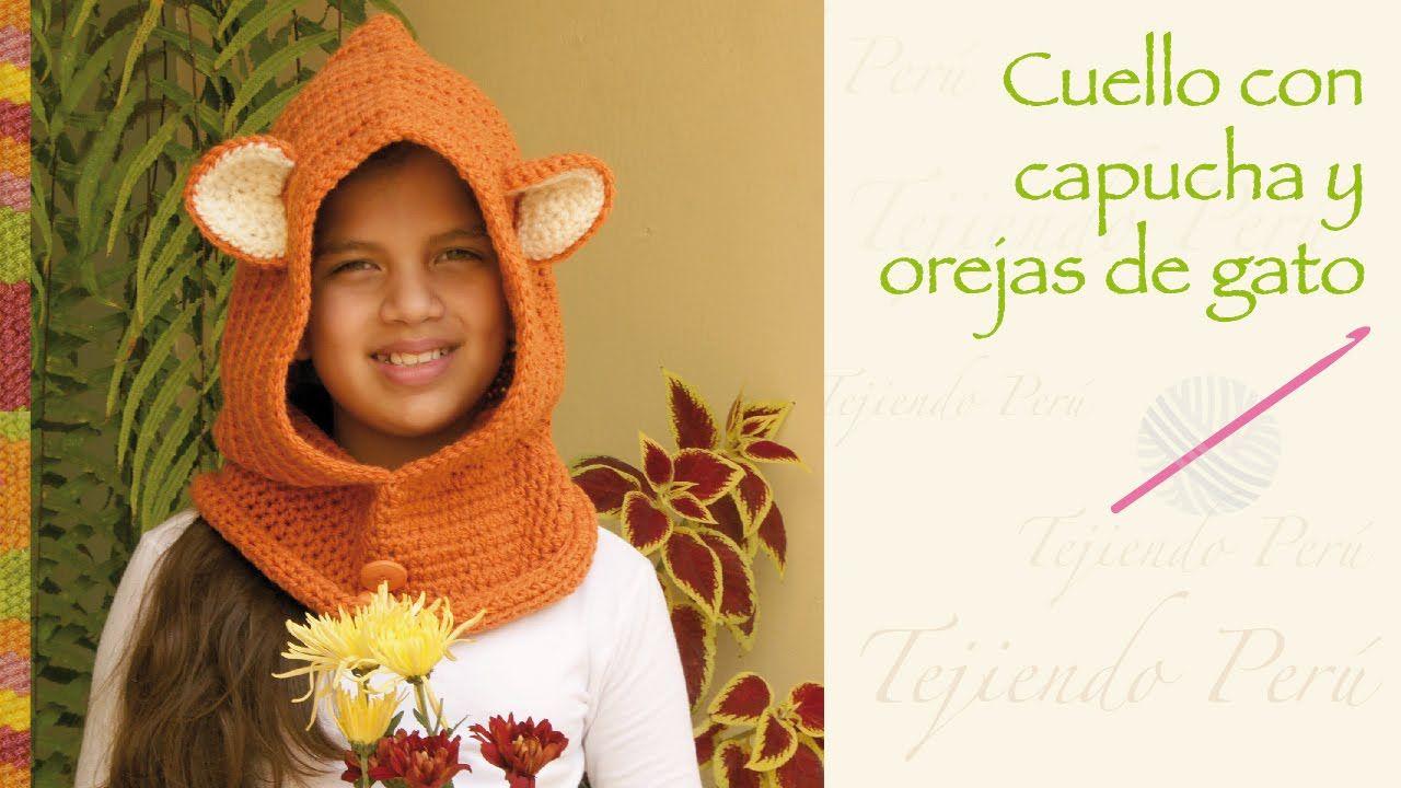 Super fácil: Cuello capucha con orejas de gato tejida a crochet ...