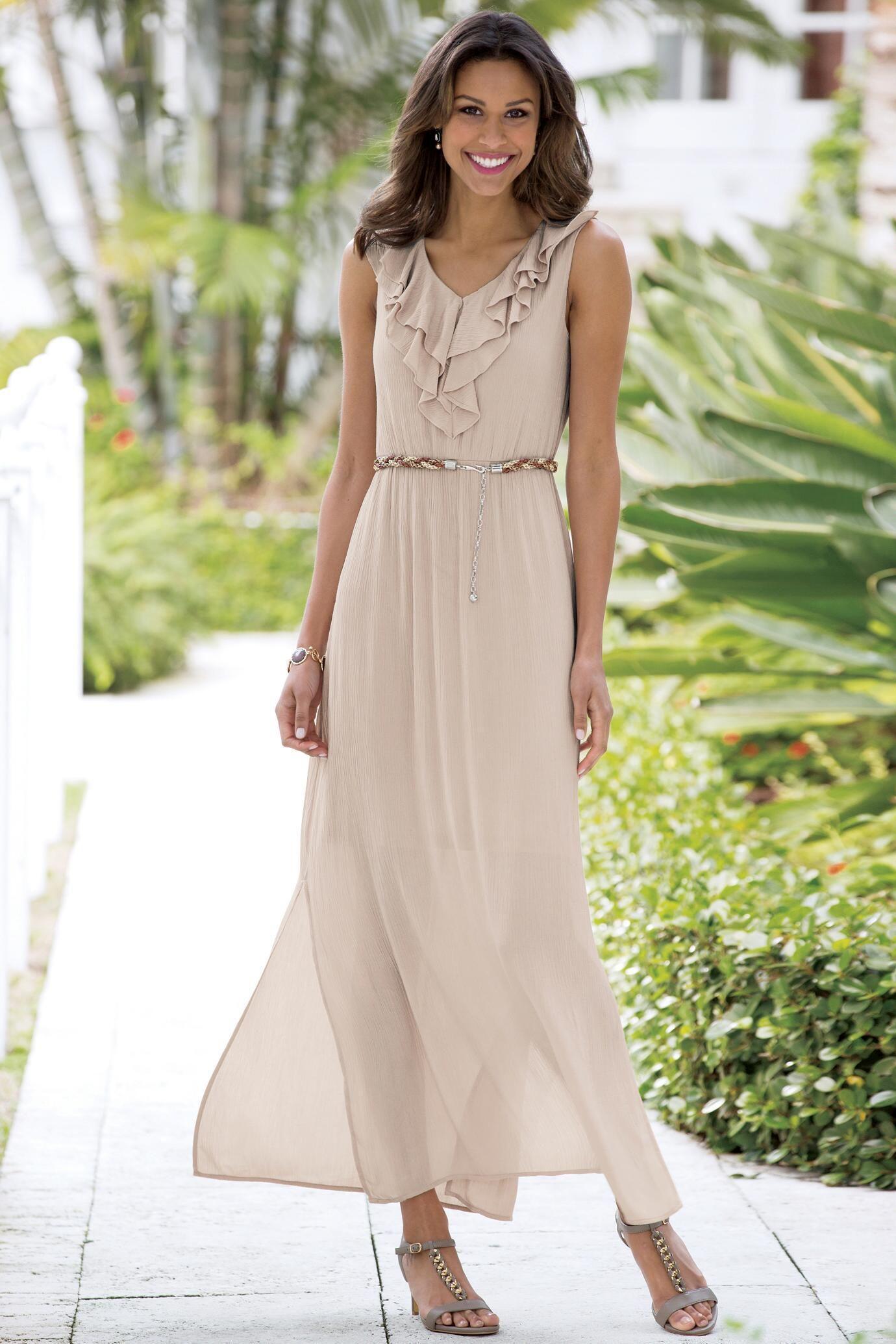 Sleeveless gauze ruffle maxi dress classic womenus clothing from