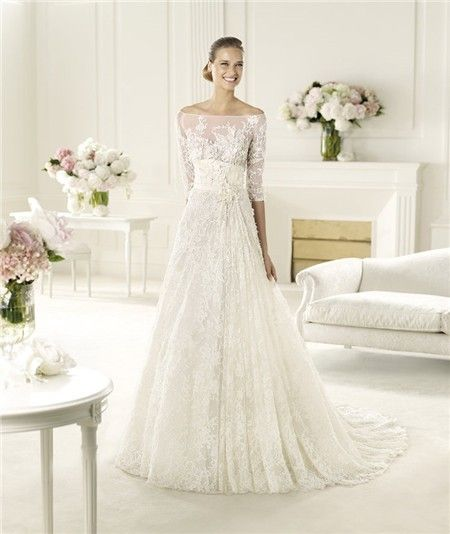 Y A Line Princess Off The Shoulder Three Quarter Sleeve Lace Wedding Dress