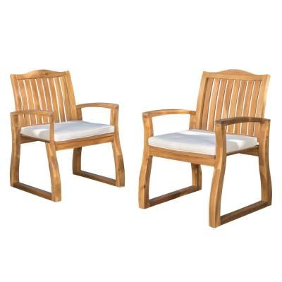 Noble House Kolten Teak Wood Outdoor Dining Chair With Cream Cushion 2 Pack 7398 Outdoor Dining Chairs Patio Dining Chairs Outdoor Dining