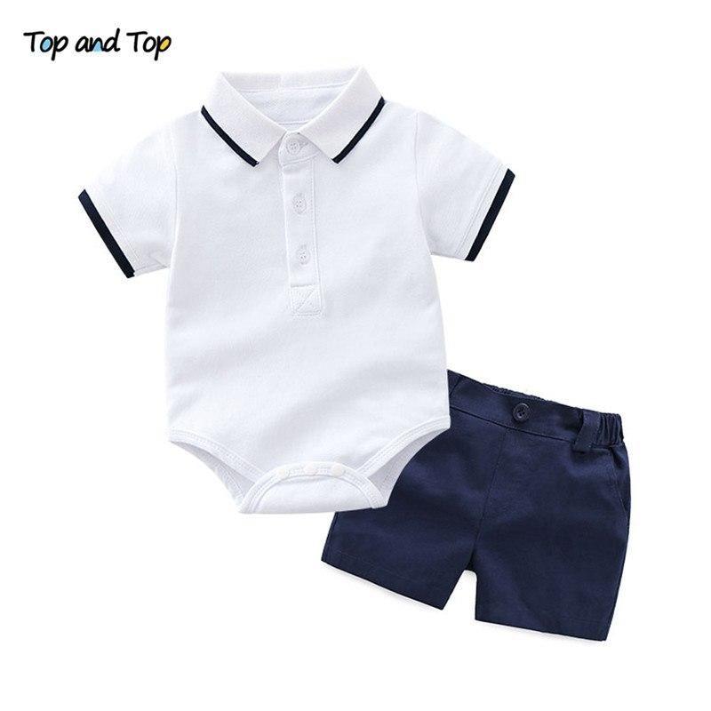 53322434 Summer style baby boy clothing set newborn infant clothing 2pcs short  sleeve t-shirt + suspenders gentleman suit