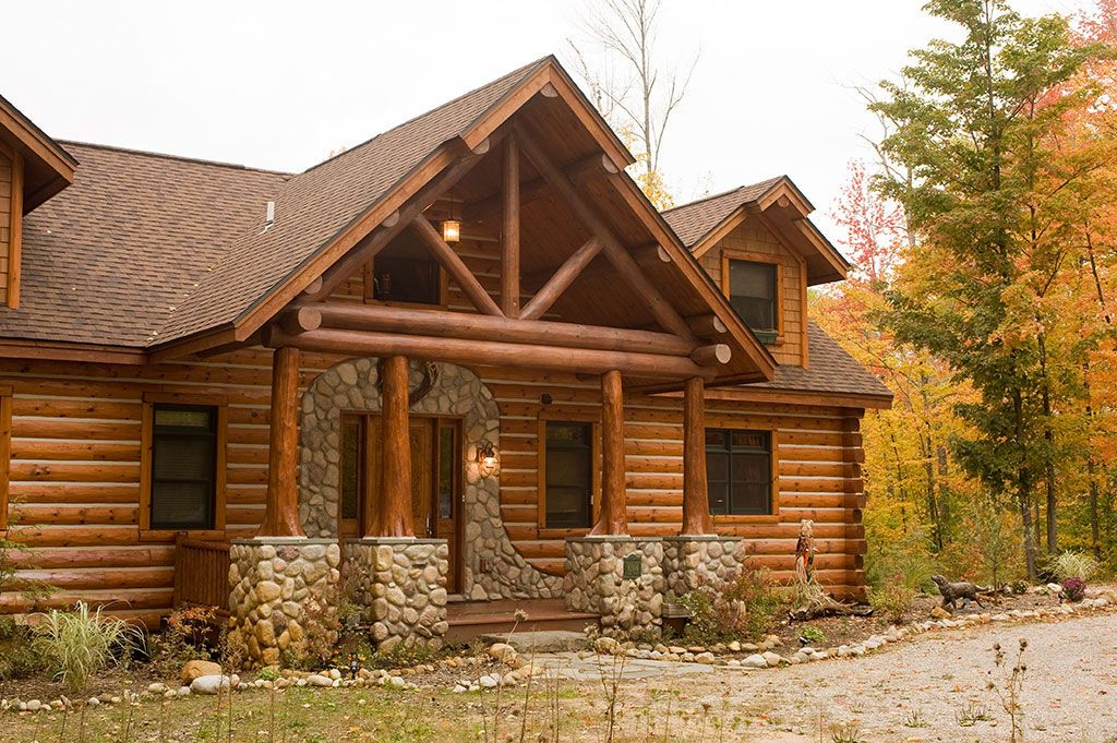 Exterior flare butt cedar posts log porch truss 10 E log siding