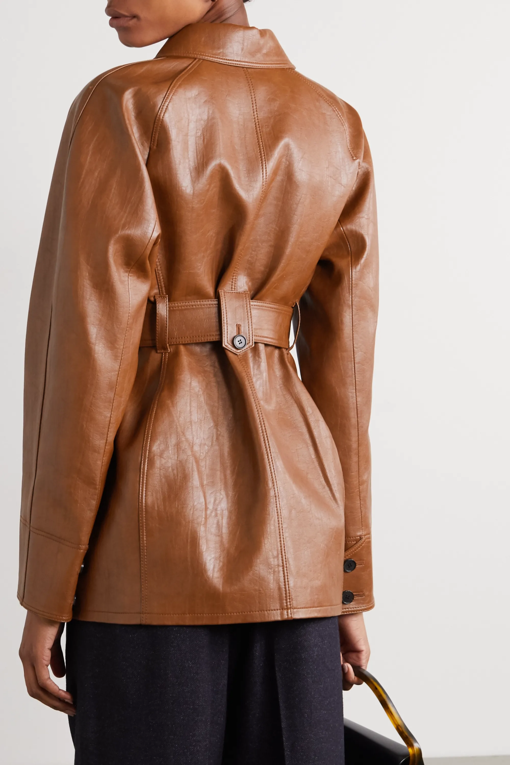 Brown Belted Faux Leather Jacket Lvir Leather Jacket Faux Leather Jackets Jackets [ 1500 x 1000 Pixel ]
