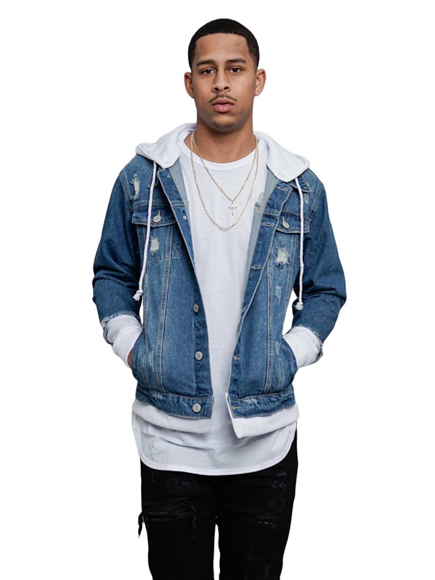 Victorious Men S Hoodie Layered Ripped Denim Jacket With Removable Hood Dk140 Indigo White Small Walmart Com In 2021 Denim Jacket Ripped Denim Distressed Denim Jacket [ 2000 x 1500 Pixel ]
