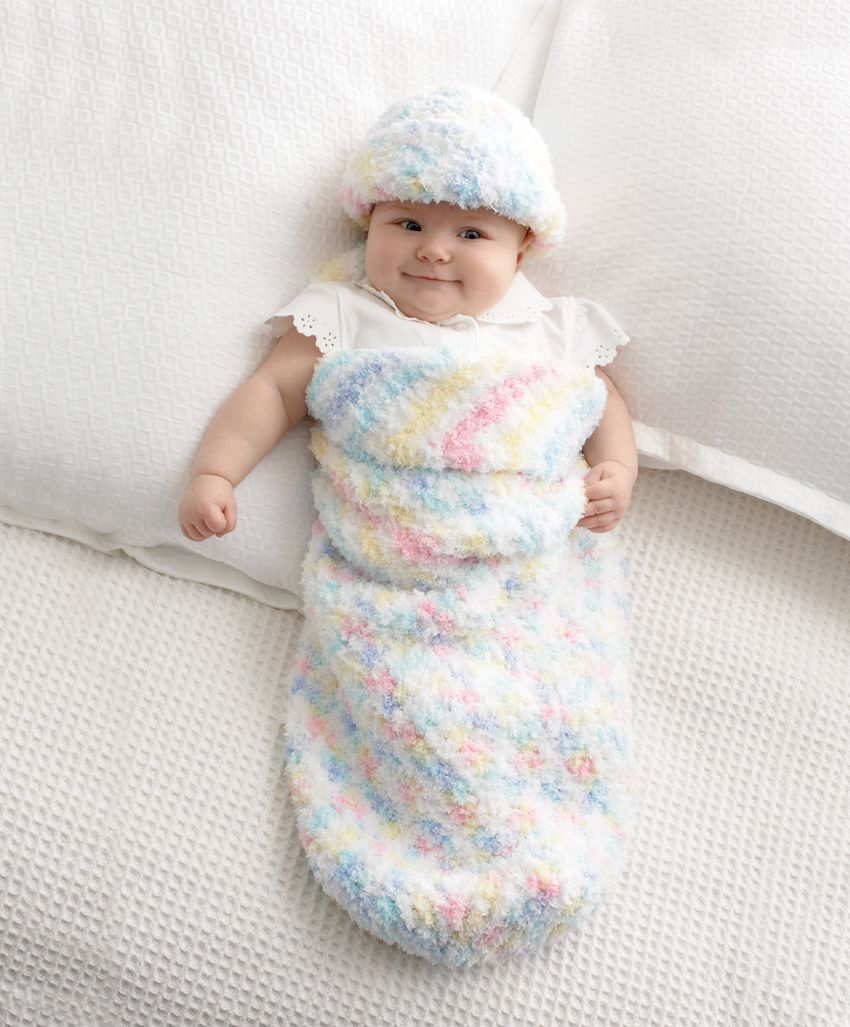 Bernat® Pipsqueak Baby Cocoon and Hat #crochet #pattern | christmas ...