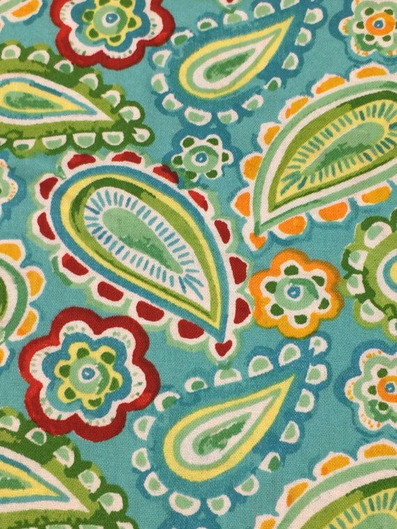 Aqua Yellow Red Green Turquoise Paisley Fabric By The Blue