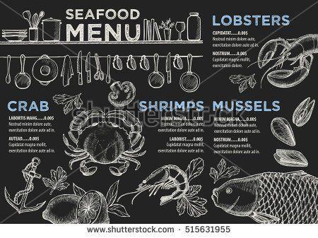 Seafood Menu Placemat Food Restaurant Brochure Template Design Chalkboard Templates