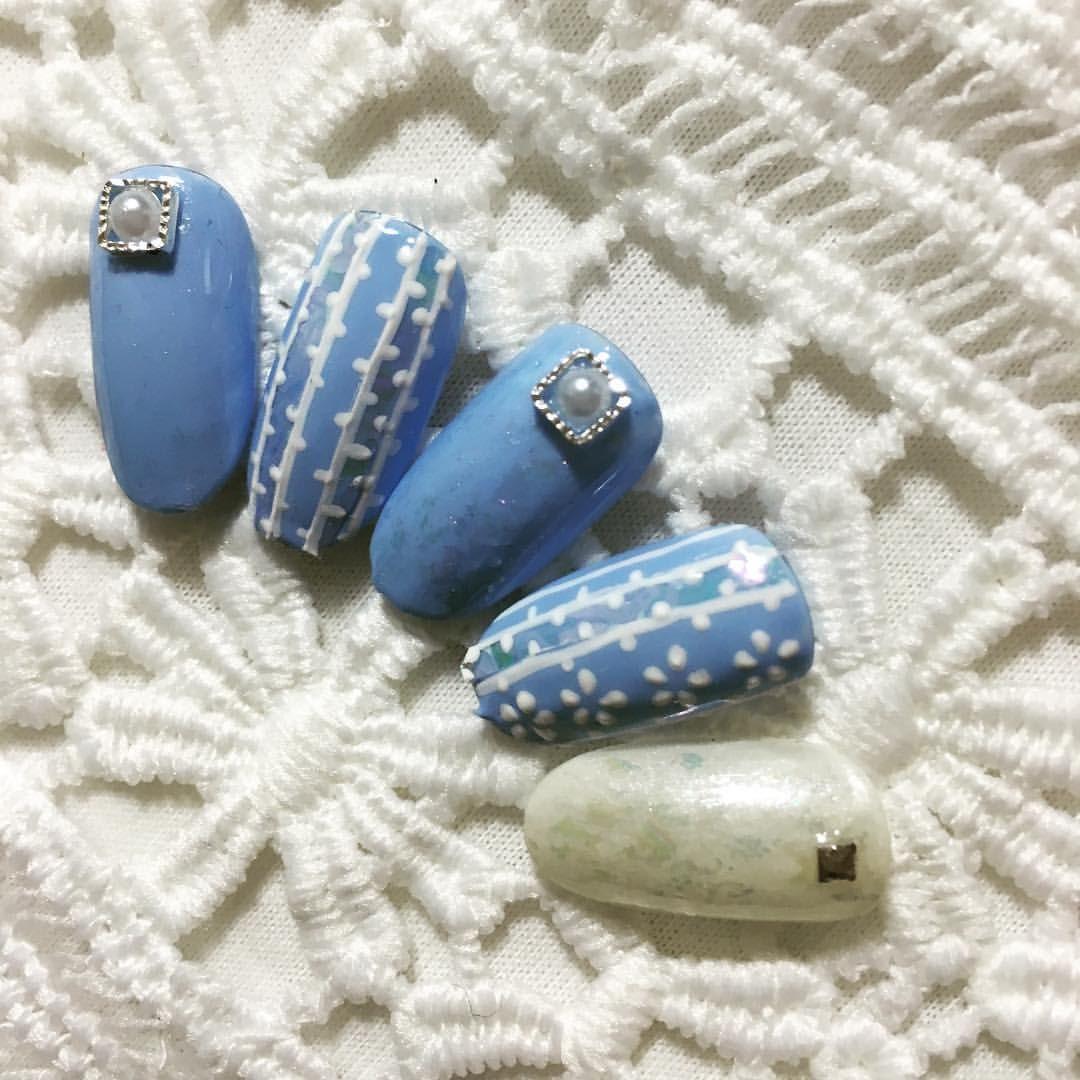 Japanese denim blue nails   Glam Glam Nail Art   Pinterest ...