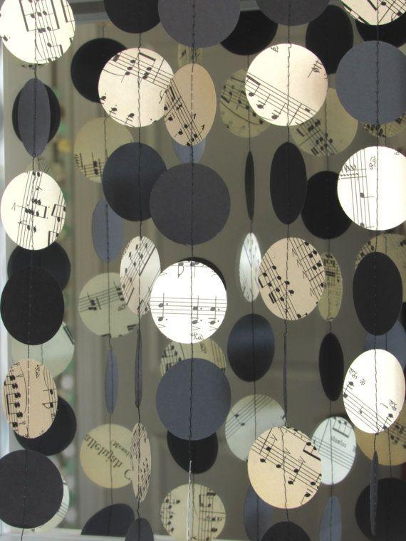 Strange Sheet Music Garland Music Note Wedding Decor Music Note Interior Design Ideas Ghosoteloinfo