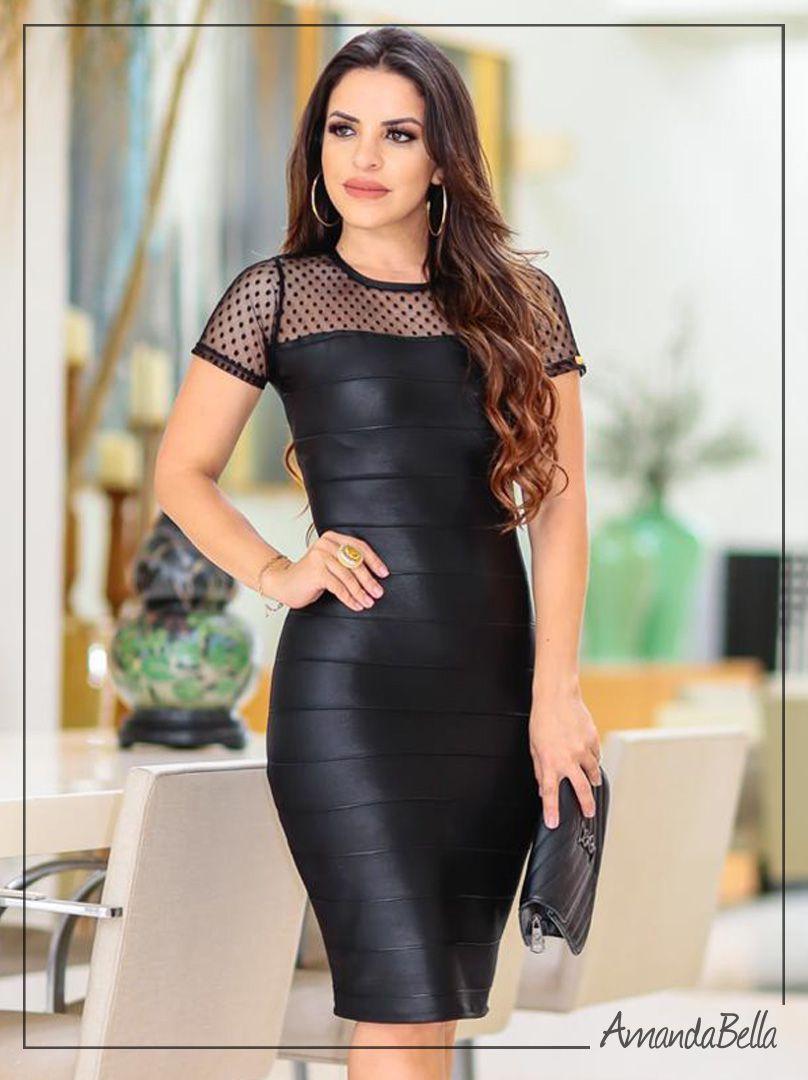 5f045b449c9f Vestido Tubinho Preto Bandagem Detalhe em Renda | Vestidos em 2019 ...