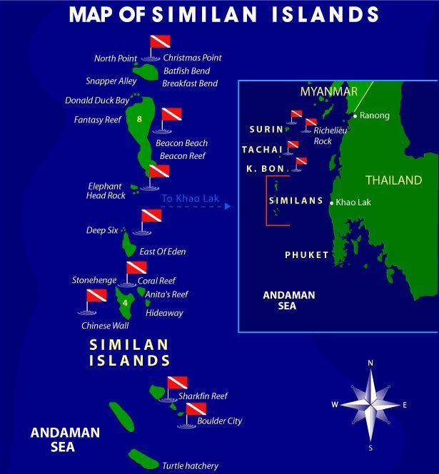 Karta över dykplatserna i Similan Islands. Bild spegel-länkad från Pinterest. Klicka för att komma till bilden.