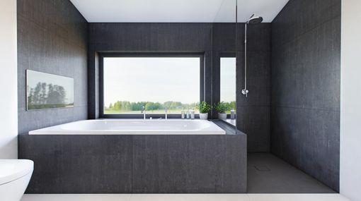 Dormitorio principal con vestidor y cuarto de baño bañera y ducha