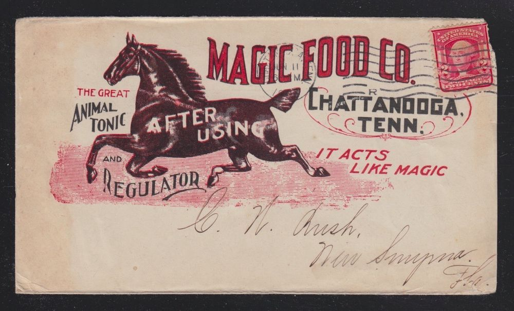USA 1907 MAGIC FOOD CO HORSE ADVERTISING COVER CHATTANOOGA TENNESSEE