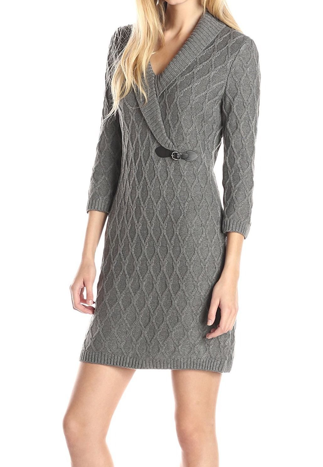 Calvin Klein NEW Gray Womens Size XL Cable-Knit Sweater Dress $134 ...