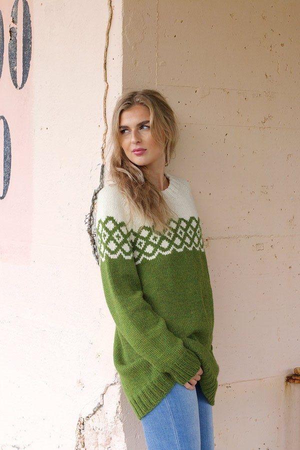 Photo of LEAH Olive – Mønster strikkede genser kvinner