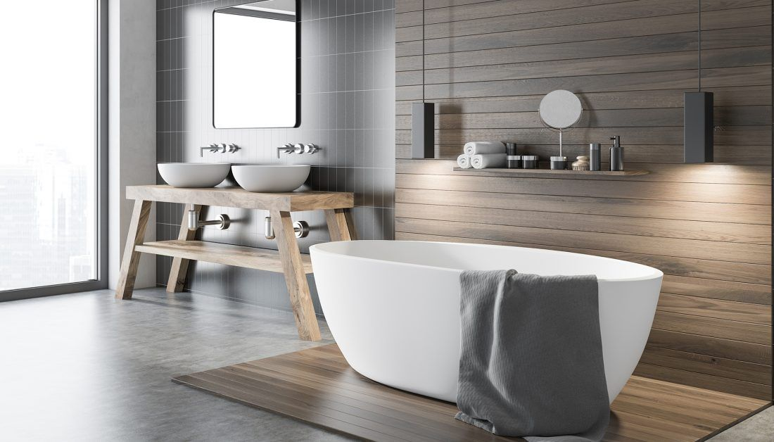 Moderne Badezimmereinrichtung Im Bauhaus Stil Mit Freistehender