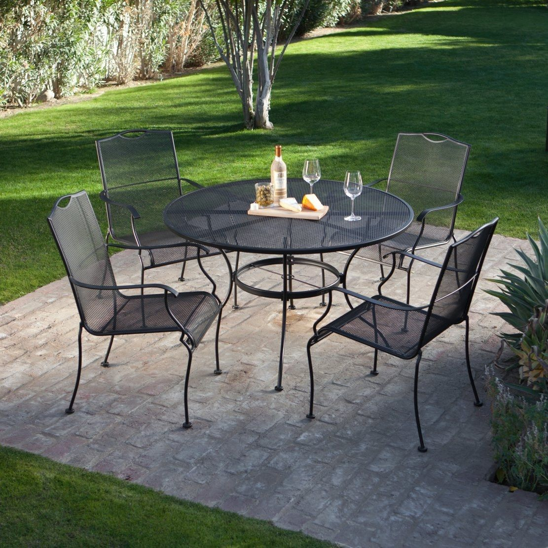5 Piece Wrought Iron Patio Furniture Dining Set Seats 4 Outdoors