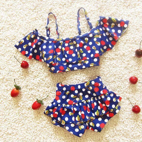 39cc4077990f8 Children s swimsuit girls cherry bebek bikini baby girl swimwear little  girls swim swimsuits for children girls swimming clothes