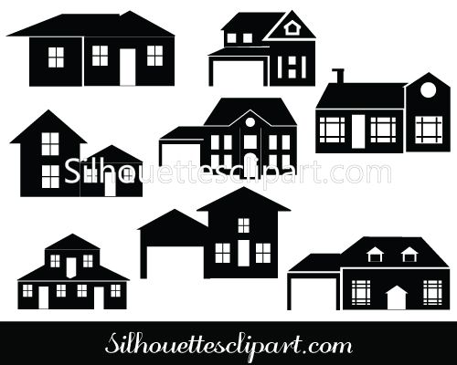 perfect house silhouette vector for download   paper   pinterest
