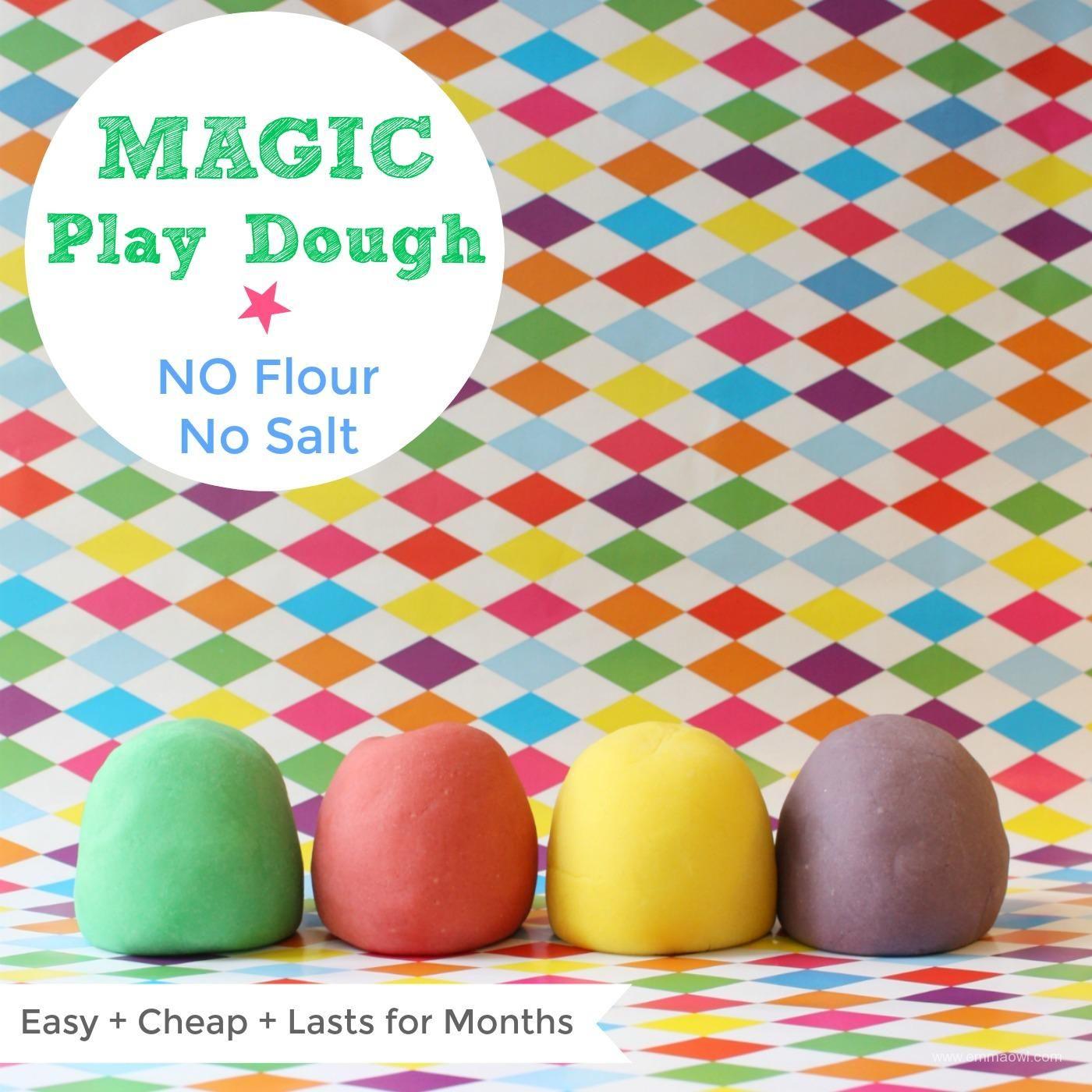 Magic Play Dough No Flour No Salt Playdough, Homemade