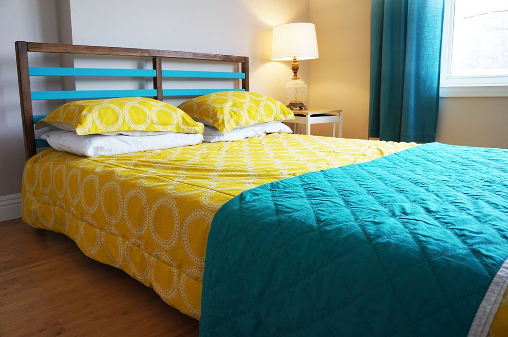 TARVA Bed Frame Hack white frame with gold stripes
