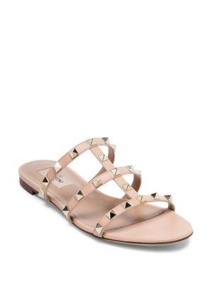 3fad9a3ed VALENTINO Rockstud Leather Cage Slides.  valentino  shoes  slides ...