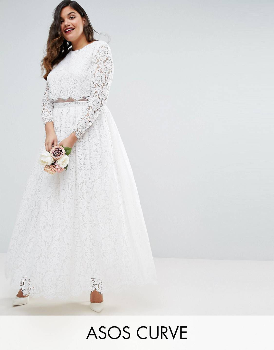 EDITION CURVE BRIDAL Lace Long Sleeve Crop Top Maxi Dress | Bridal ...