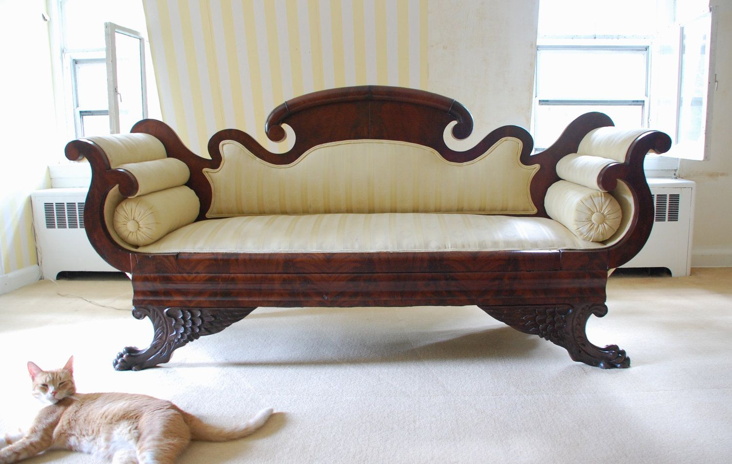 Empire Furniture Sofa Cowhide Leather Sectional 950 Victorian Double Scroll End Mahogany With Yellow Upholstery