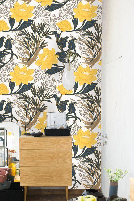 Removable Wallpaper Self Adhesive Wallpaper Yellow Peonies Etsy Removable Wallpaper Yellow Peonies Self Adhesive Wallpaper
