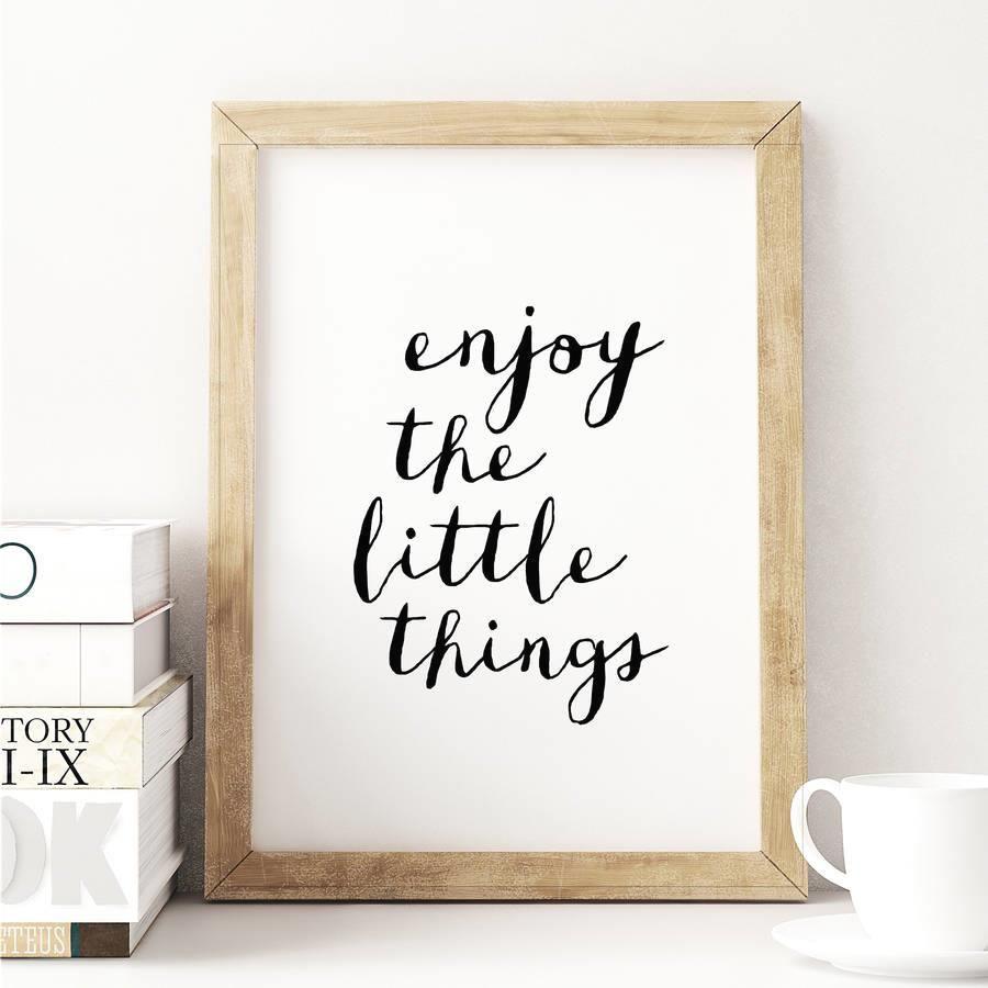 Enjoy the Little Things http://www.amazon.com/dp/B016LFOQ5M  motivationmonday print inspirational black white poster motivational quote inspiring gratitude word art bedroom beauty happiness success motivate inspire