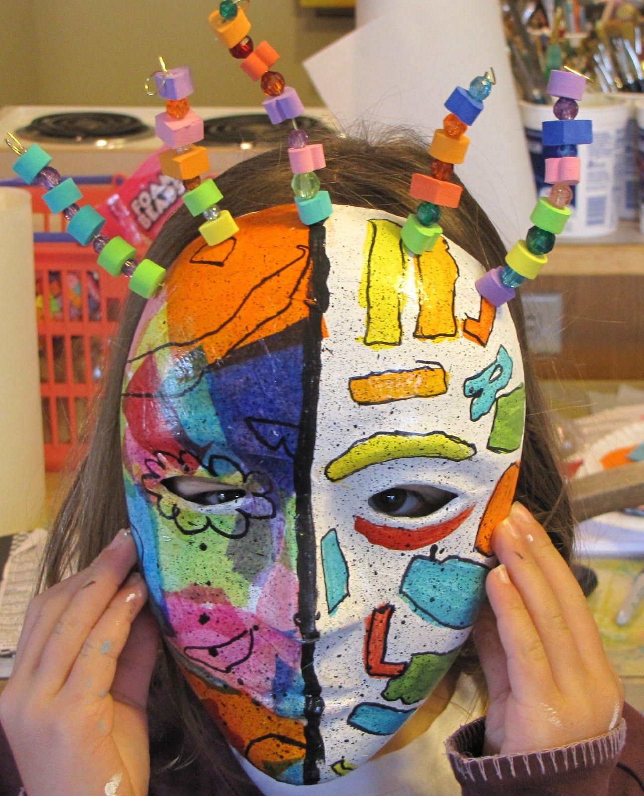 Picasso masks with pre made paper mache masks possible - Masque papier mache ...