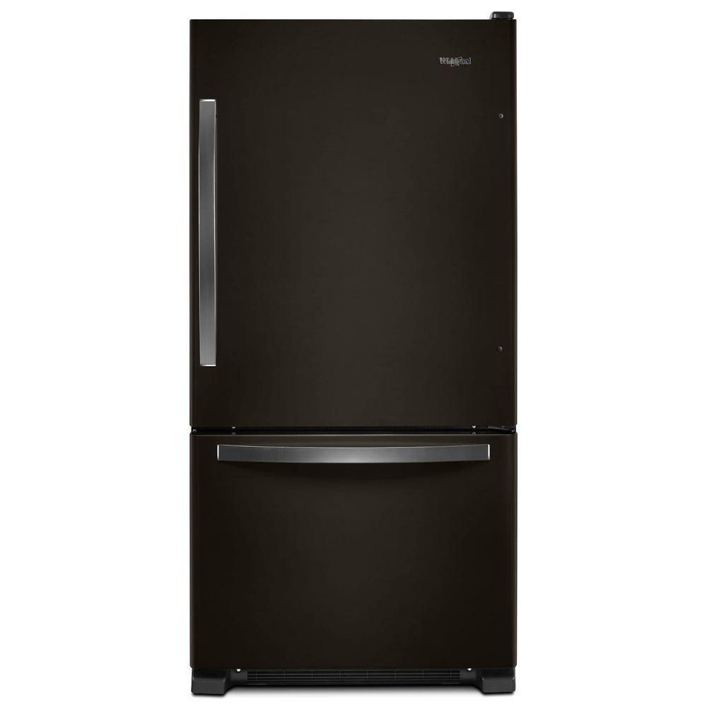 Whirlpool 22 Cu Ft Bottom Freezer Refrigerator In Fingerprint Resistant Black Stainless Wrb322dmhv The Home Depot Bottom Freezer Bottom Freezer Refrigerator Refrigerator