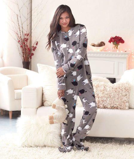 Women's Footed Pajamas Fleece Zebra or Sheep Print Med Ladies PJ ...