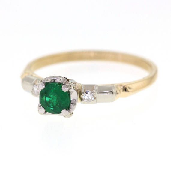 Vintage Emerald Ring Mid Century Natural Emerald Yellow Gold Ring