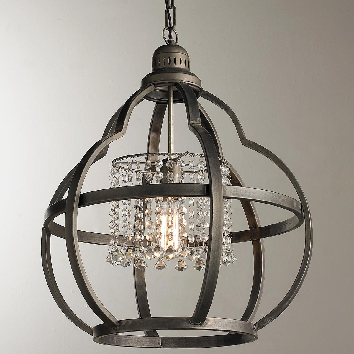 Quatrefoil Cage And Crystals Pendant Light Crystal Pendant Lighting Metal Pendant Light Pendant Light