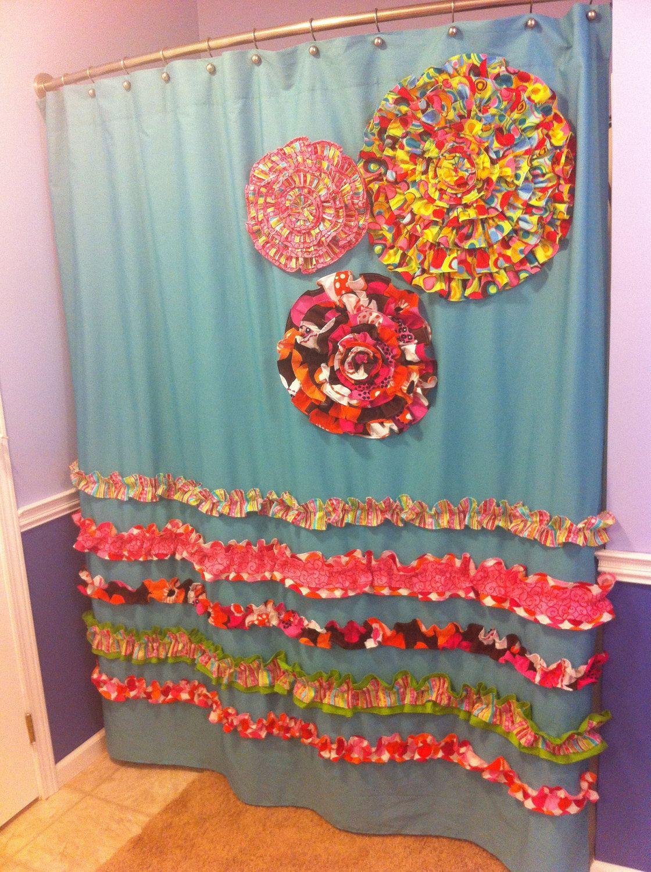 Shower Curtain Custom Made Designer Fabric Ruffles And Flowers