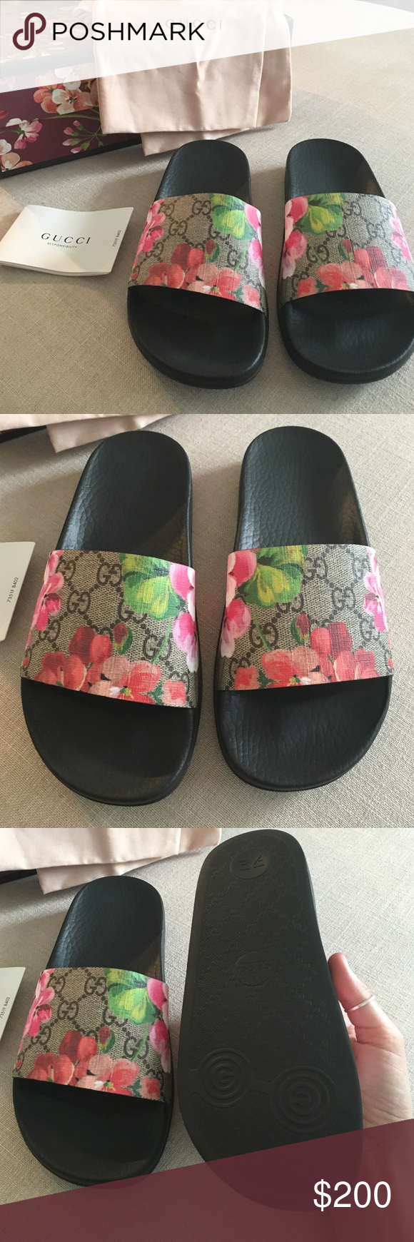 baa5e59a4 Gucci 2016 slide sandals new❤ ❤ Gucci slide sandals 2016 cherry blossom  edition. Brand new in box. Comes with dust bags and authenticity card.