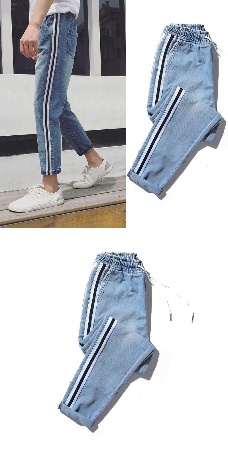 5 New Stripe Edge men baggy blue Jeans Male Korean Student Nine