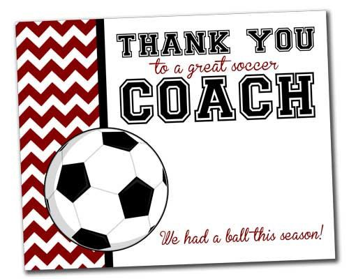 Team Thank You Card For Soccer Coach Instant Download By Khudd