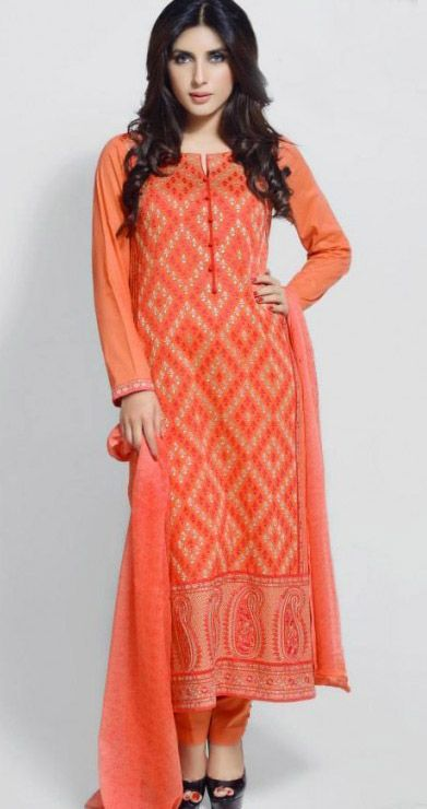 Orange Cotton Lawn Embroidered Salwar Kameez Suit $114 99