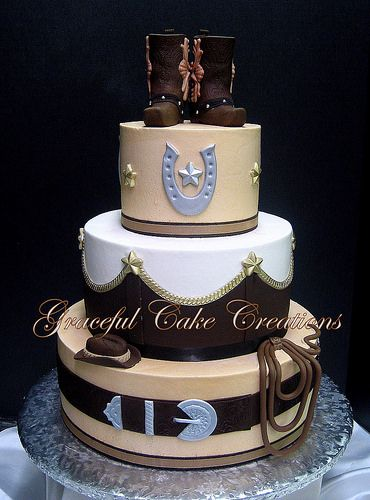 Elegant Western Themed Wedding Cake with Cowboy Boot Cake Topper ...