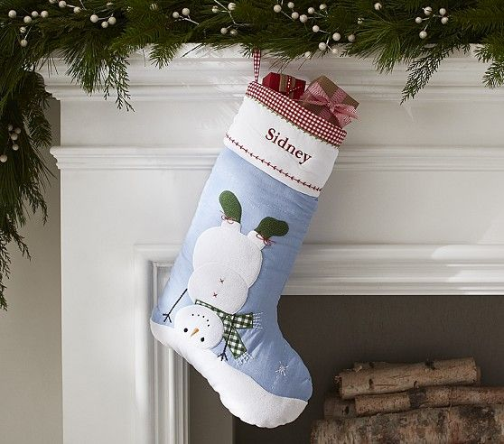 Upside Down Snowman Quilted Stocking Pottery Barn
