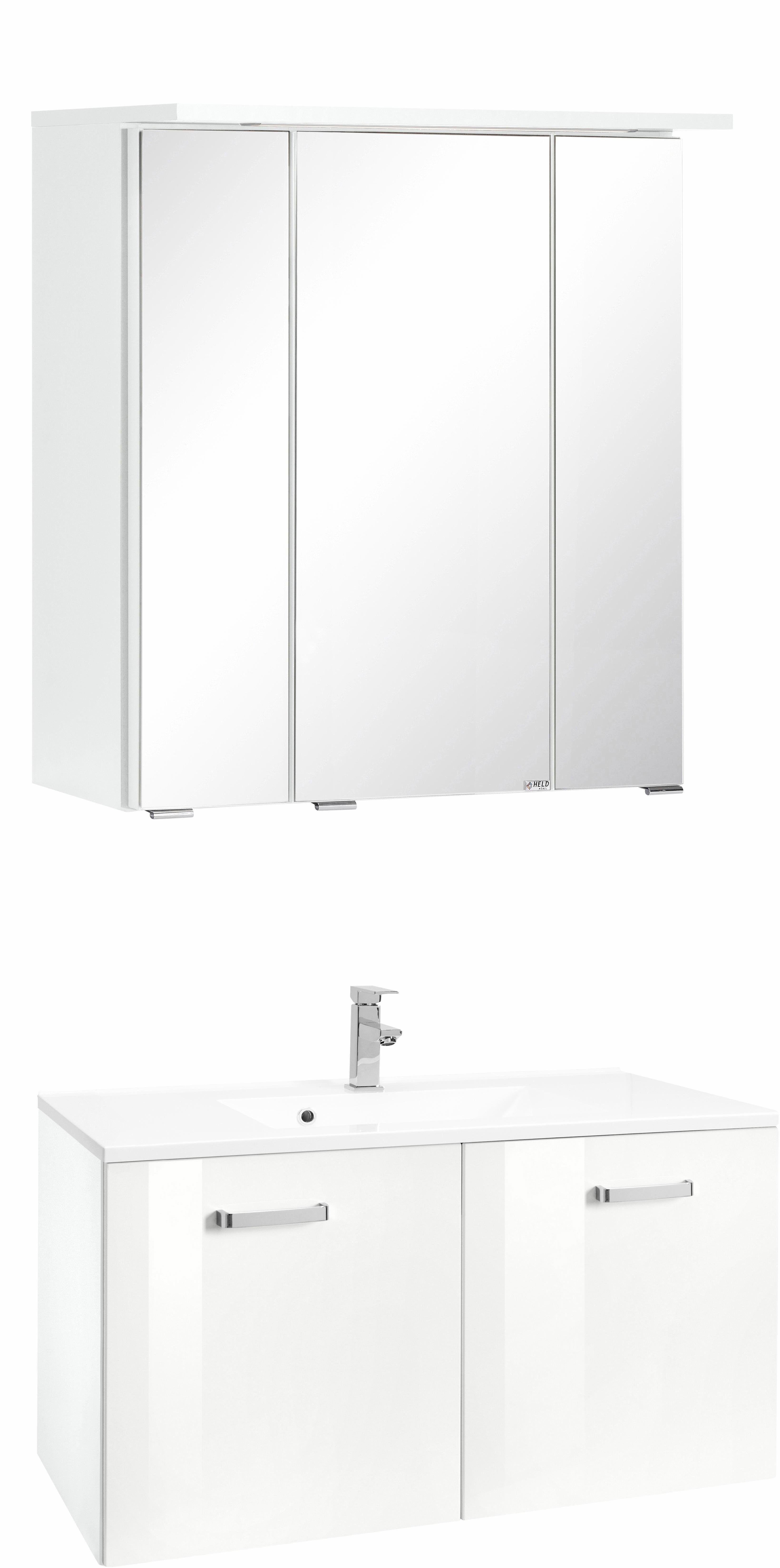 Badmöbel-Set »Ravenna« weiß, pflegeleichte Oberfläche, Held Möbel ... | {Bad set möbel 24}