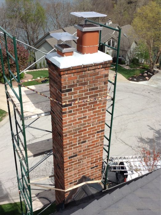The Scaffolding That The Fluesbrothers Technicians Set Up To Complete The Chimney Crown And Cap Repair Chimney Cap Roofing Tools Chimney Cleaning