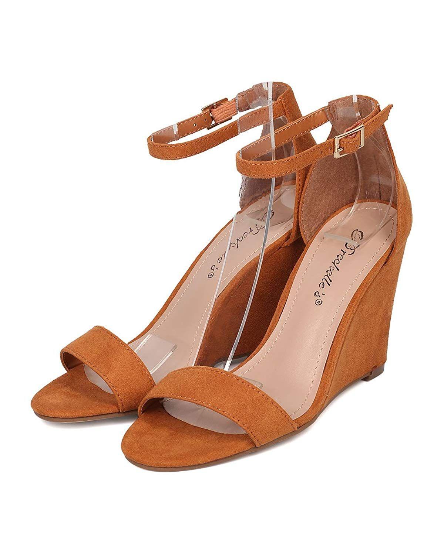 e3c8c849585 Alrisco Ankle Strap Wedge Sandal - Single Sole Wedge Heel - Dressy ...